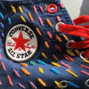 Vntg early 2000s Converse Red Rainbow Stitch